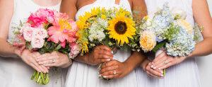 Bouquet e cores de verniz para noivas